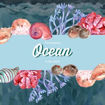 Frame design with sealife theme, creative contrast color vector illustration template.