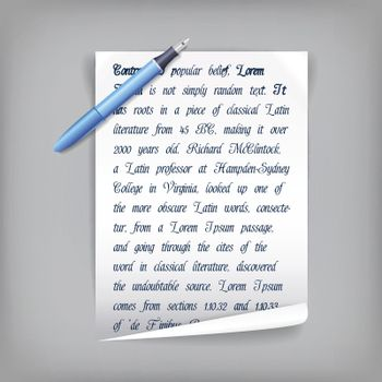 Pen And Paper With Text