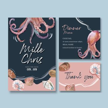 Wedding card watercolor design with octopus and shells, creative contrast color vector illustration.
