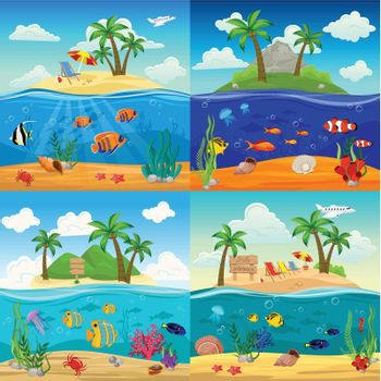Sea Underwater Life Backgrounds Set