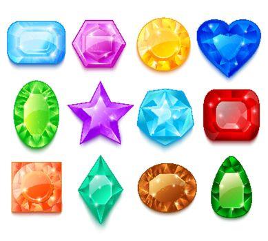 Set Of Colorful Gems