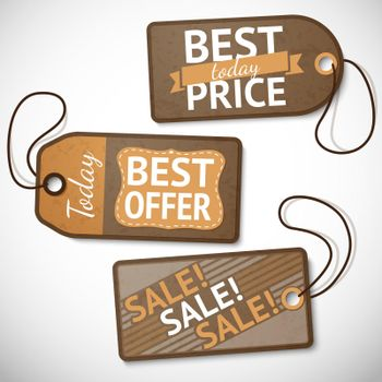 Set of retail cardboard sale tags