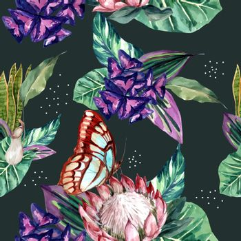 Pattern design with classis tropical theme, butterfly with tropical plants vector illustration.