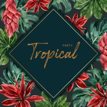 Tropical-themed frame design with monstera leaves, creative contrast color illustration template.
