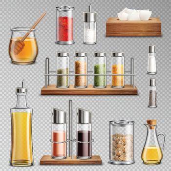 Seasoning Spices Realistic Set Transparent