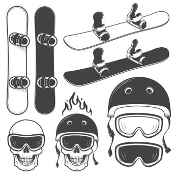 Set of black and white snowbords and designed snowboarding eleme