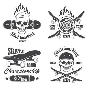 Set of skateboarding emblems, labels and designed elements. Set