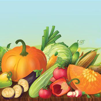 Vegetables On Shelf Composition