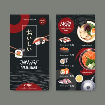 Design template with food watercolor graphic illustrations. Sushi set menu for restaurant.