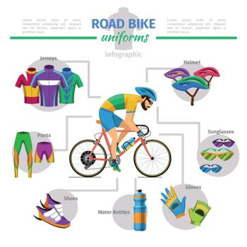 Road bike uniforms vector infographic