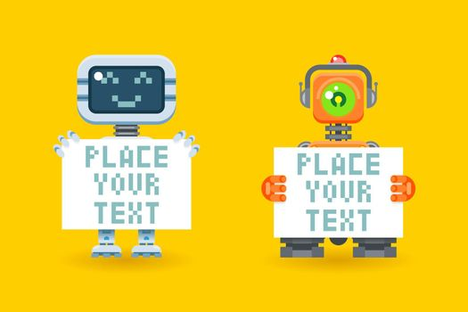 Robots with blank paper place for your text