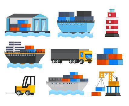 Sea Port Orthogonal Icons Set