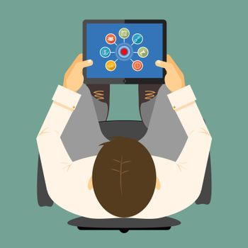SEO infographics on a tablet computer