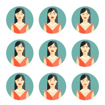 Set of nine different women emotions