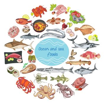 Sea And Ocean Food Round Concept