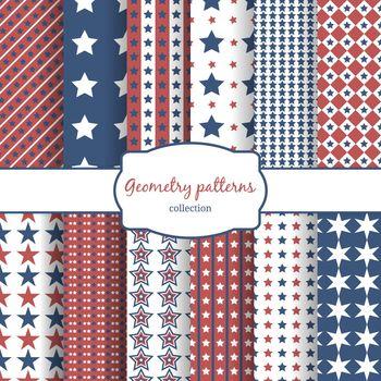 Stars and stripes pattern seamless patterns set