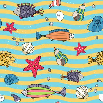 Seamless pattern of sea life on the seashore