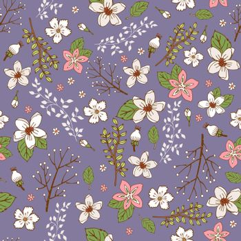 Seamless background with hand painted flowers