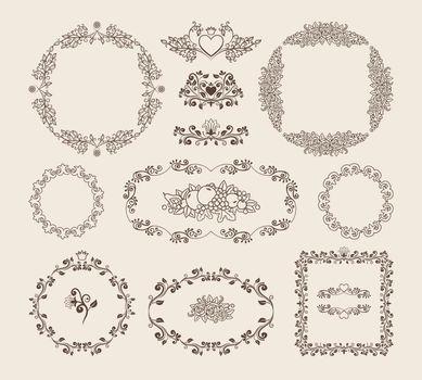 Set of ornamental vector frames and badges