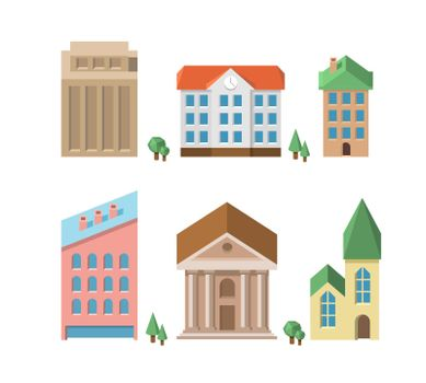 Buildings. Vector 3d houses