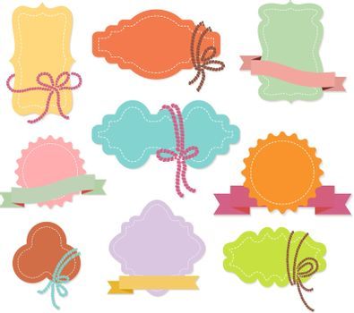 Set of labels or tags with ribbons