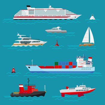 Sea ships flat icons