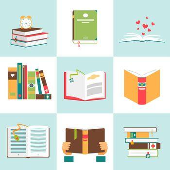 Set of books in flat design