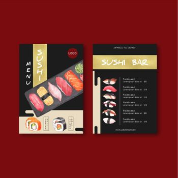 Sushi menu collection for restaurant. Design template with food watercolour graphic illustrations.