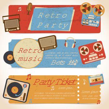 Music retro banners