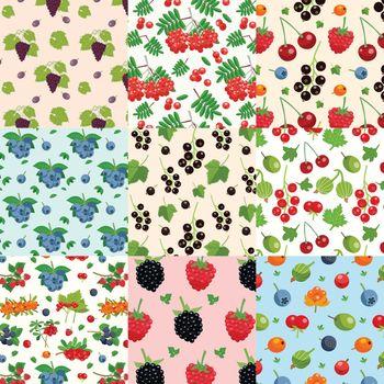 Set Of Nine Seamless Berries Patterns