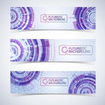 Futuristic Horizontal Banners Set