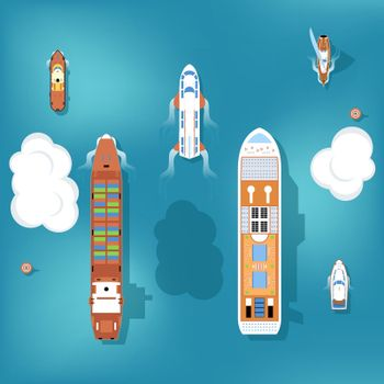 Set of vector ships. Top view