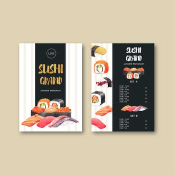 Sushi menu collection for restaurant. Design template with food watercolor graphic illustrations.