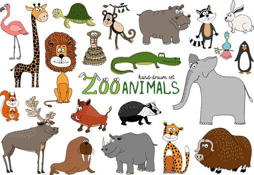 Set of hand-drawn zoo animals