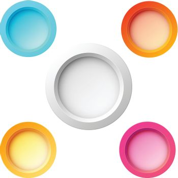 Set Of Five Colorful Buttons