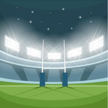 Rugby stadium with lights at night