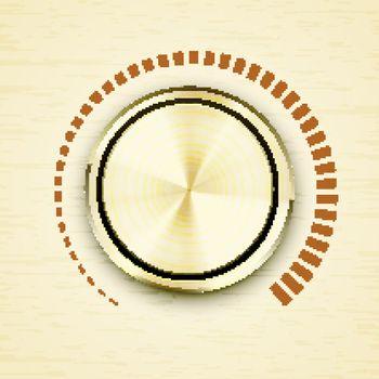 Round gold metallic volume knob