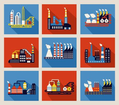 Industrial factory buildings and refineries