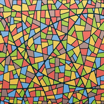 Seamless Vector Stained-Glass Window Background