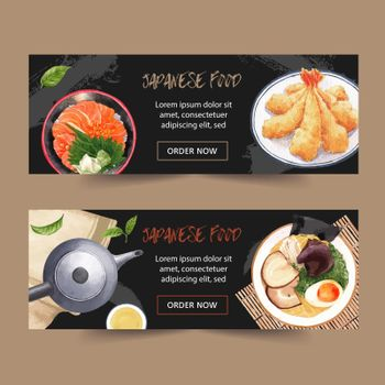 Japanese food illustration for banner. Tempura-themed graphic design for advertisement.