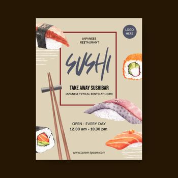 Poster design for Sushi restaurant watercolour illustration. Contrast colour in compact composition