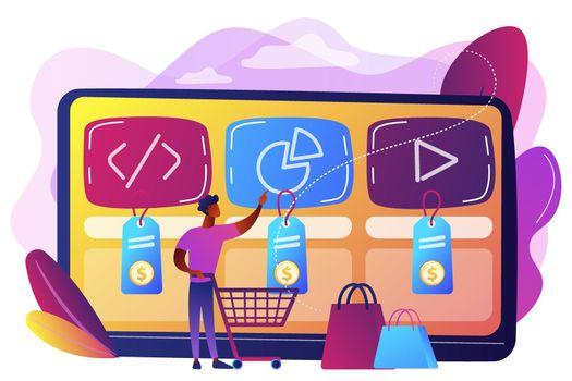 Digital service marketplace concept vector illustration.