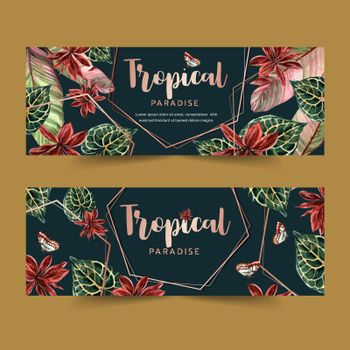 Banner design with classic wild tropical plants, contrast color vector illustration template.