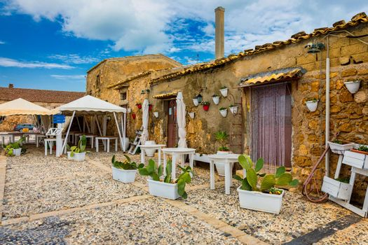 The picturesque village of Marzamemi, in the province of Syracuse, Sicily. Square of Marzamemi, a small fishing village, Siracusa province, Sicily, italy, Europe.