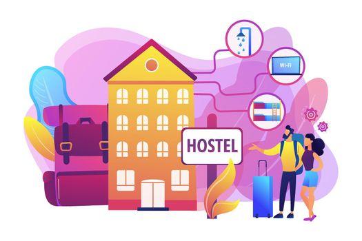 Hostel services concept vector illustration