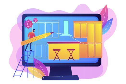 Custom made kitchens concept vector illustration