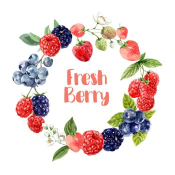Wreath Design with various mixberry fruits, vibrant color vector illustration Template
