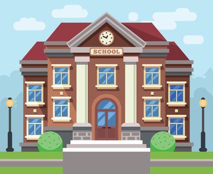 School or university building. Vector flat education concept