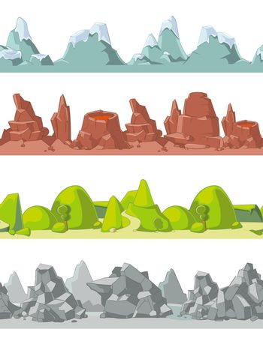 Seamless vector mountains set in cartoon style