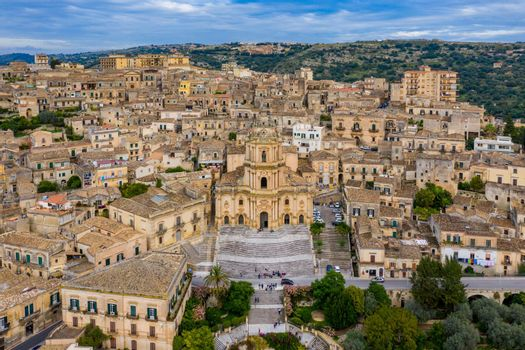 Duomo of San Giorgio in Modica, fine example of sicilian baroque art. Sicily, southern Italy. Modica (Ragusa Province), view of the baroque town. Sicily, Italy.